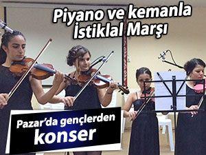 İstiklal Marşı'nı piyano ve keman eşliğinde okudular