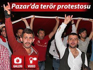 PAZAR'DA TERÖR SALDIRILARI PROTESTO EDİLDİ