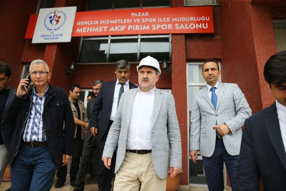 Bakan Bak, Pazar M. Akif Pirim Spor Salonuna el attı 4