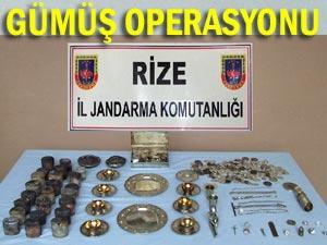 Rize'de çok sayıda gümüş ele geçirildi