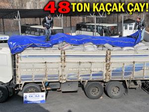 KOM operasyonu: 48 ton kaçak çay ele geçirildi