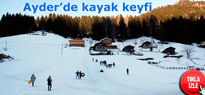 Ayder'de şambrel ile kayak keyfi