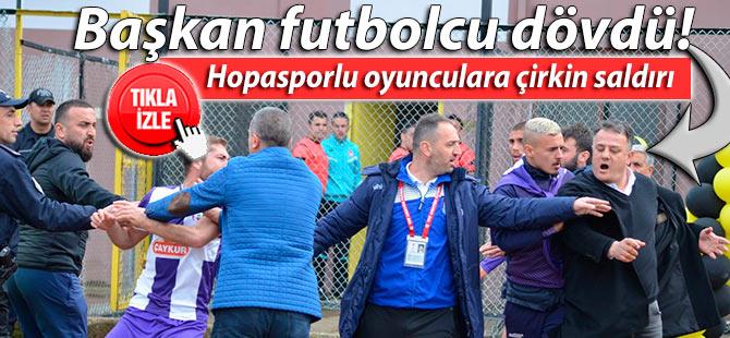 Hopasporlu oyunculara Arsin'de çirkin saldırı