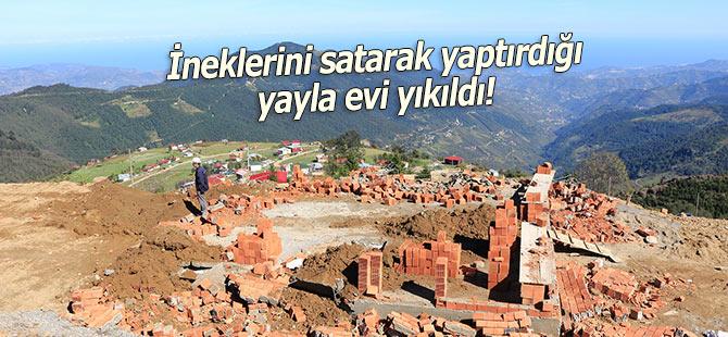 İneklerini satarak yaptırdığı yayla evi yıkıldı!