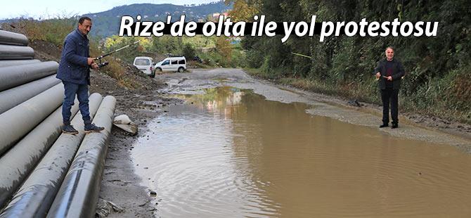 Rize'de olta ile yol protestosu