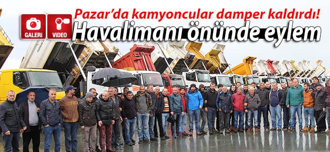 Pazar'da havalimanı inşaatı önünde kamyoncu eylemi