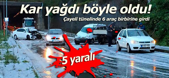 Çayeli tünelinde 6 araç birbirine girdi: 5 yaralı