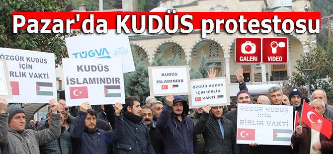 Pazar'da KUDÜS protestosu