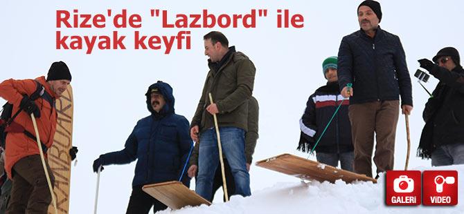 """Rize'de """"Lazbord"""" ile kayak keyfi"""