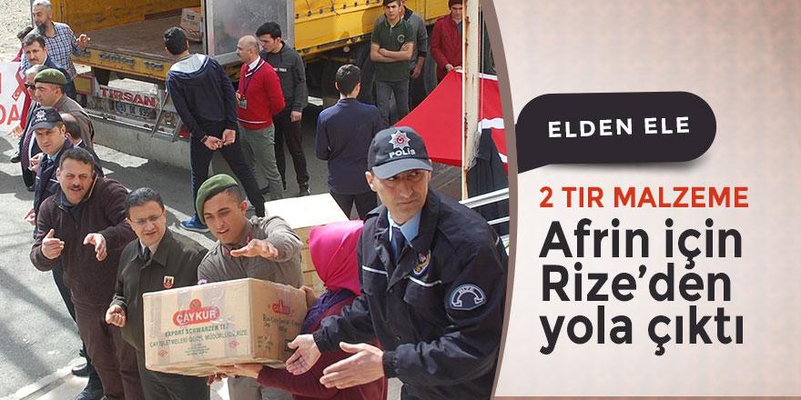 Rize'den Afrin'e 2 tır dolusu malzeme yola çıktı