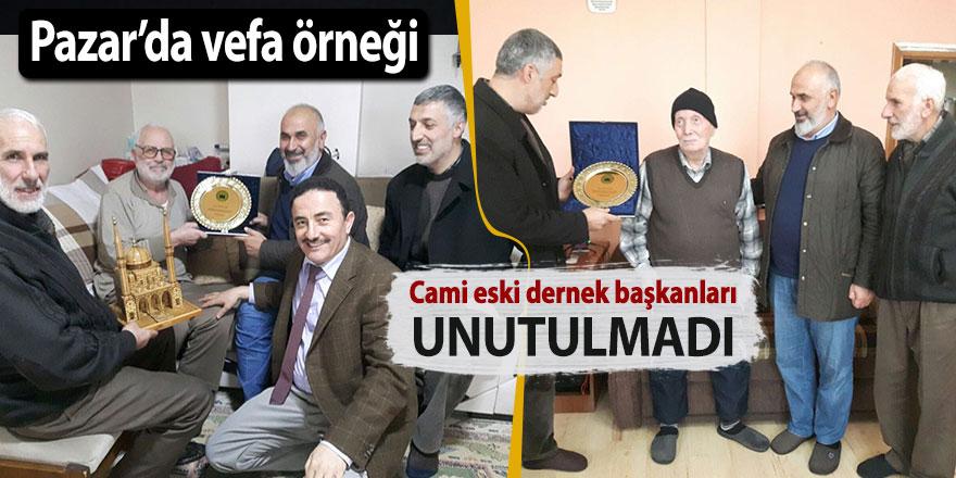 Pazar'da eski Cami Derneği başkanlarına vefa
