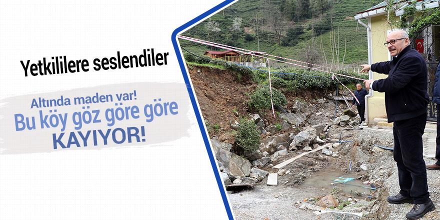 Rize'de altında maden işletmesi olan köy kayıyor
