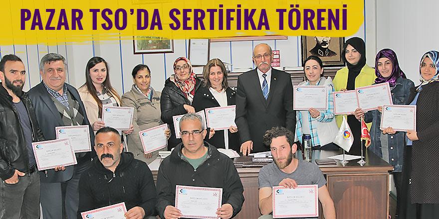 Pazar TSO'da girişimciler sertifikalarını aldı