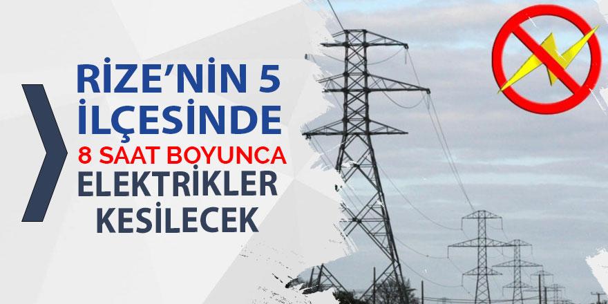 Pazar, Ardeşen, Fındıklı, Hemşin ve Çamlıhemşin'de elektrik kesintisi