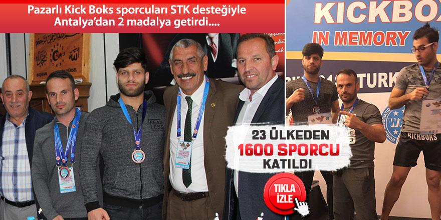 Pazarlı Kick Boks ekibi STK desteğiyle 2 madalya kazandı