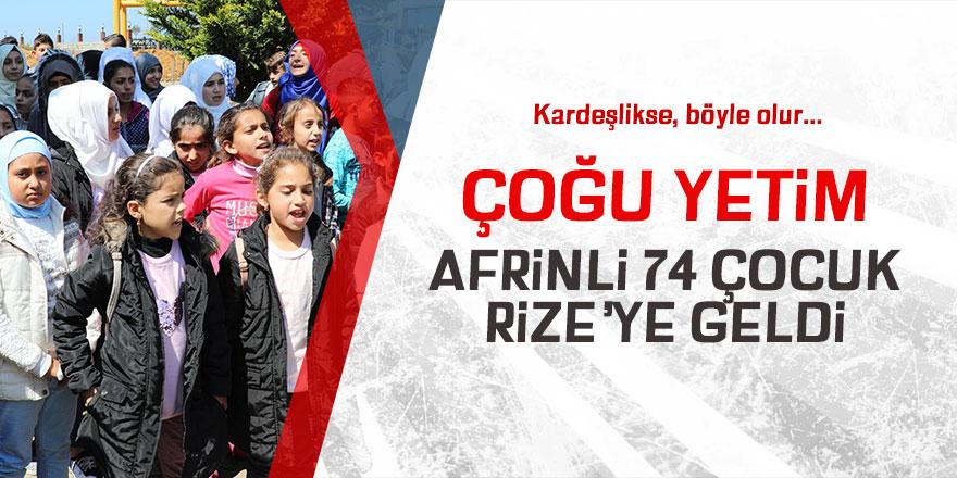 Çoğu yetim Afrinli 74 çocuk, Rize'ye geldi