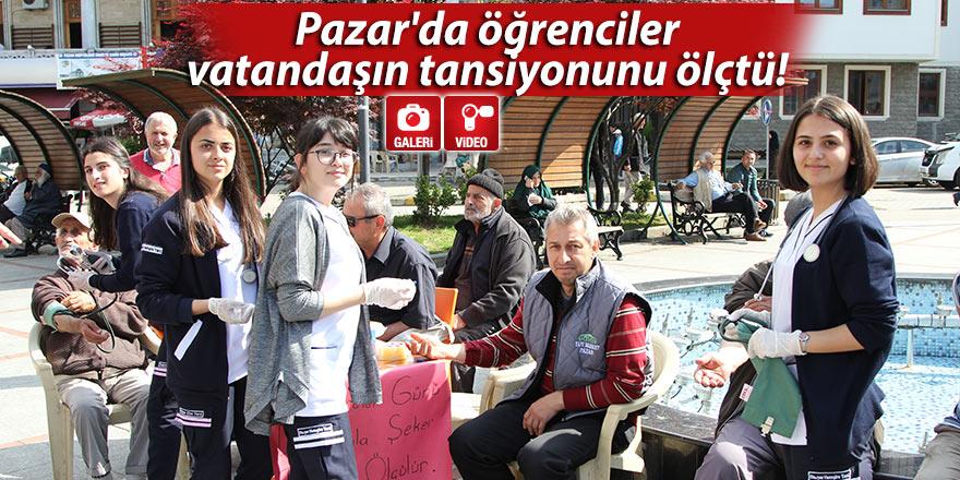 Pazar'da öğrenciler vatandaşın tansiyonunu ölçtü!