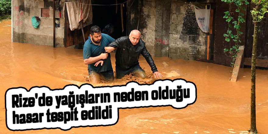 Rize'de yağışların neden olduğu hasar tespit edildi