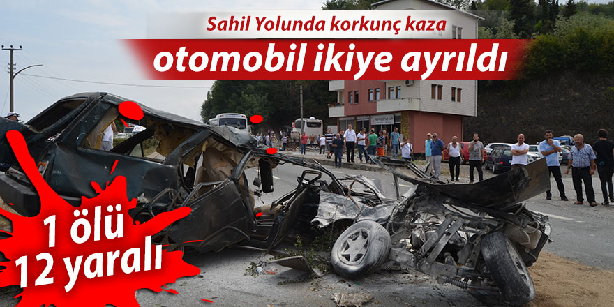 Karşı şerite geçen otomobil ikiye bölündü: 1 ölü, 12 yaralı