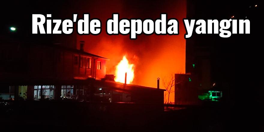 Rize'de depoda yangın