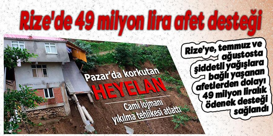 Rize'de 49 milyon lira afet desteği