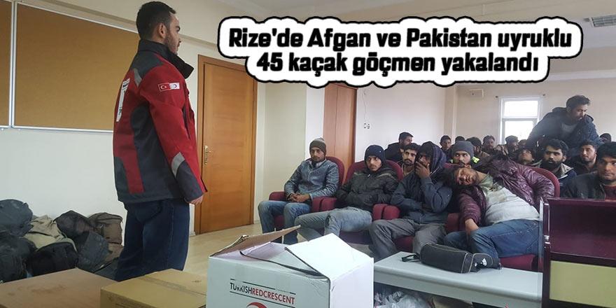 Rize'de Afgan ve Pakistan uyruklu 45 kaçak göçmen yakalandı