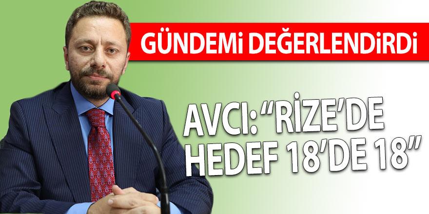 AVCI: RİZE'DE HEDEF 18'DE 18