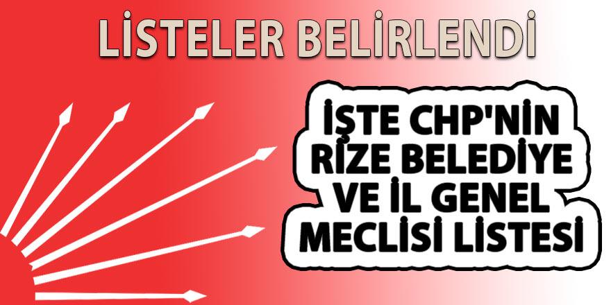 İşte CHP'nin Rize Belediye ve il genel meclisi listesi
