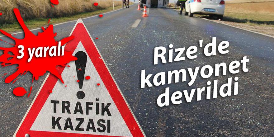 Rize'de kamyonet devrildi: 3 yaralı