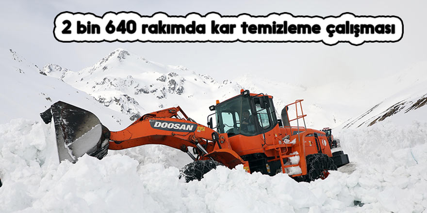 2 bin 640 rakımda kar temizleme çalışması