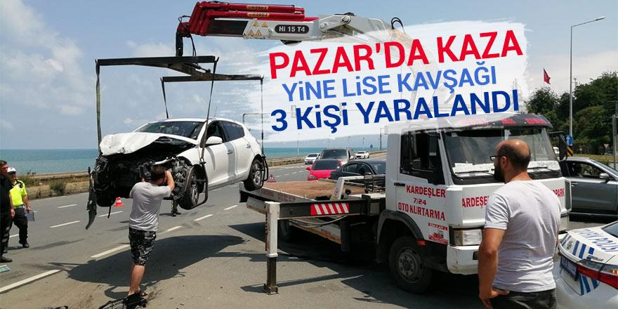 Pazar'da trafik kazası: 3 yaralı