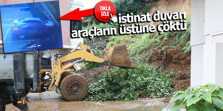 Rize'de istinat duvarı araçların üstüne çöktü