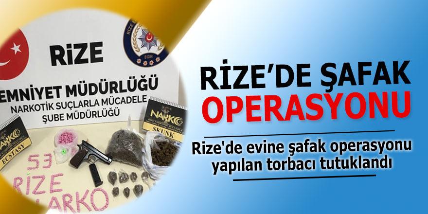 Rize'de torbacının evine şafak operasyonu düzenlendi