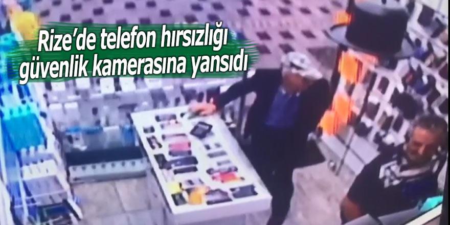 Rize'de telefon hırsızlığı güvenlik kamerasına yansıdı