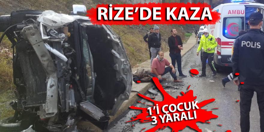Rize'de yoldan çıkan otomobil takla attı: 1'i çocuk 3 yaralı