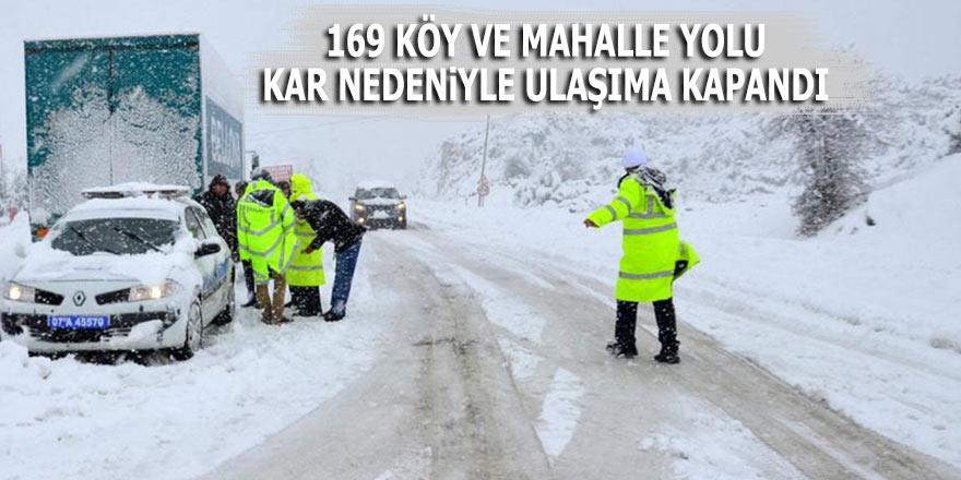 169 köy ve mahalle yolu kar nedeniyle ulaşıma kapandı