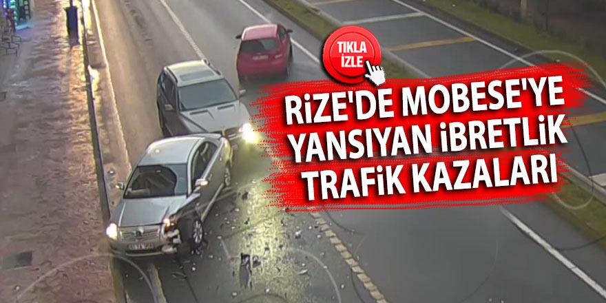 Rize'de MOBESE'ye yansıyan ibretlik trafik kazaları