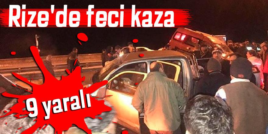 Rize'de feci kaza: 9 yaralı