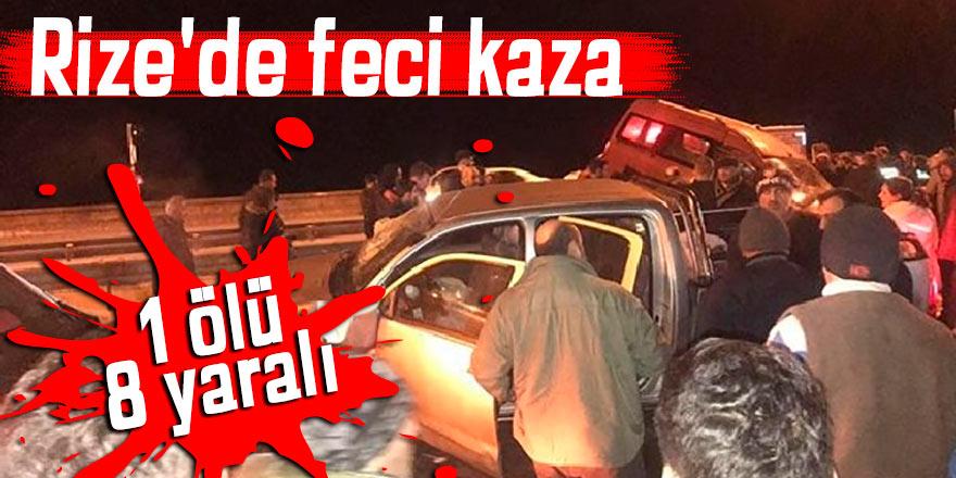 Rize'de feci kaza: 1 ölü, 8 yaralı