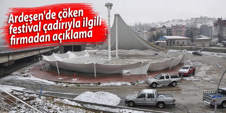 Ardeşen'de çöken festival çadırıyla ilgili firmadan açıklama