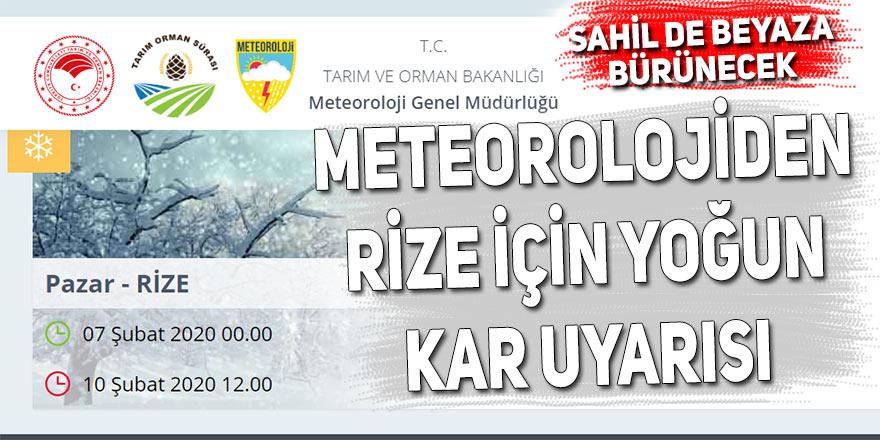 Meteorolojiden Rize için yoğun kar uyarısı