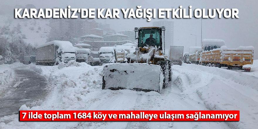 Karadeniz'de kar yağışı etkili oluyor