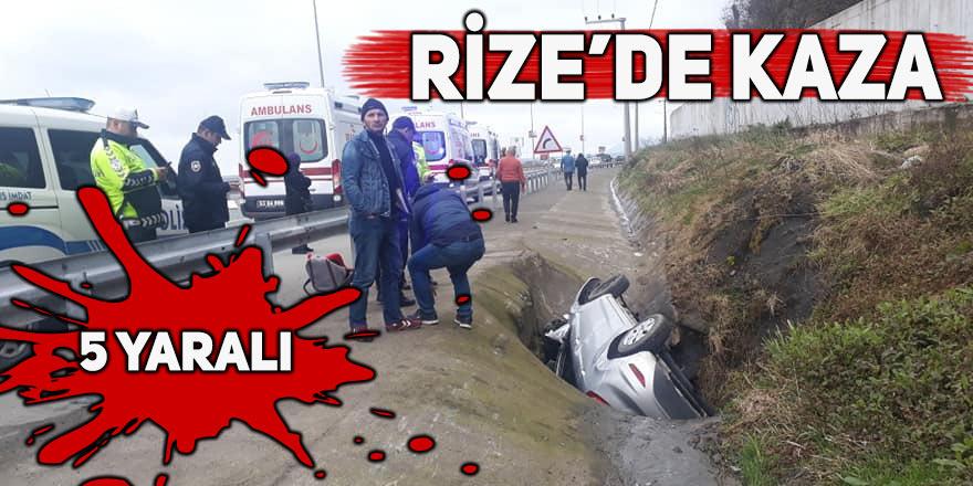 Rize'de otomobil su kanalına devrildi: 5 yaralı