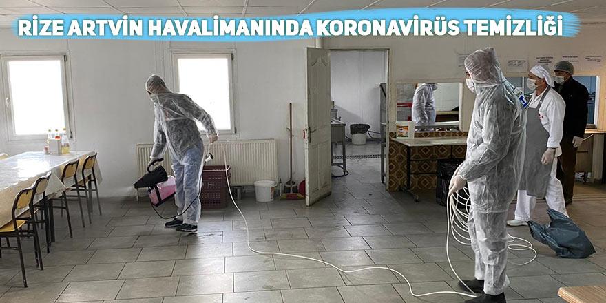 Rize Artvin Havalimanında koronavirüs temizliği