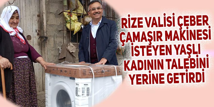 Rize Valisi, çamaşır makinesi isteyen yaşlı kadının talebini yerine getirdi