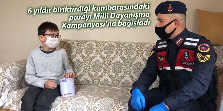 6 yıldır biriktirdiği kumbarasındaki parayı Milli Dayanışma Kampanyası'na bağışladı