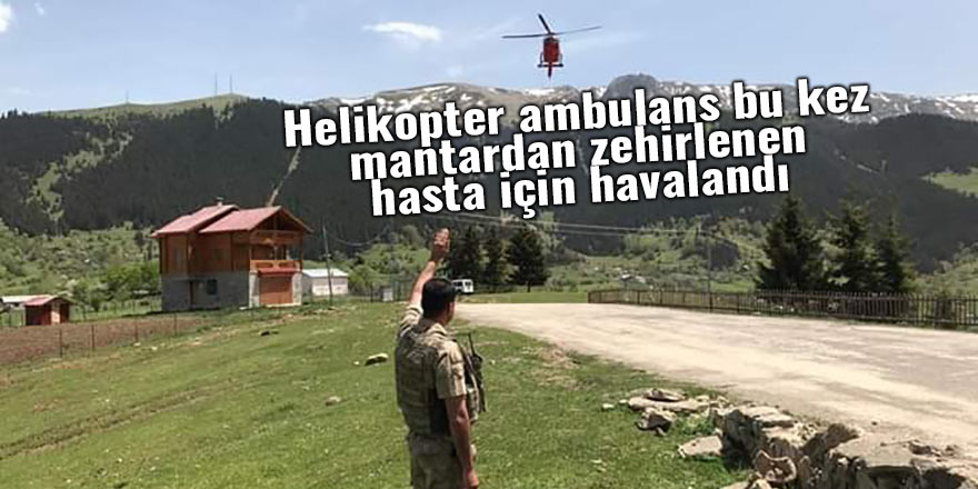 Helikopter ambulans bu kez mantardan zehirlenen hasta için havalandı