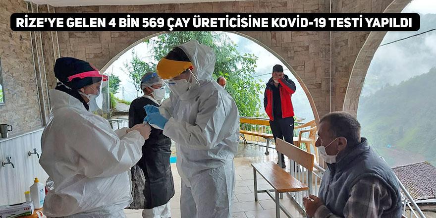 Rize'ye gelen 4 bin 569 çay üreticisine Kovid-19 testi yapıldı