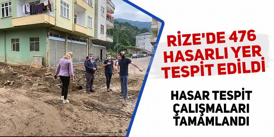 Rize'de 476 hasarlı nokta tespit edildi