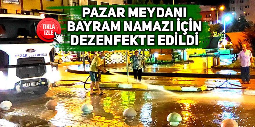 Pazar Meydanı bayram namazı için yıkandı